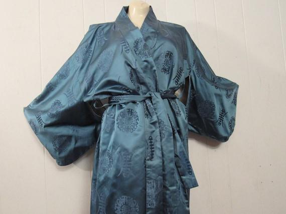 Vintage kimono, Asian jacket, 1950s robe, blue sil