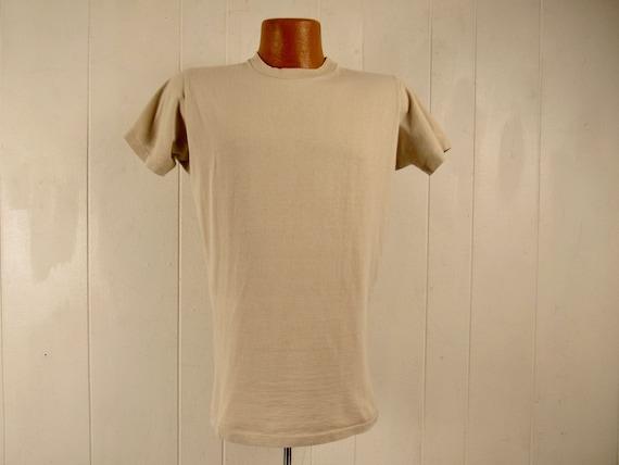Vintage t shirt, 1960s t shirt, plain t shirt, Sea