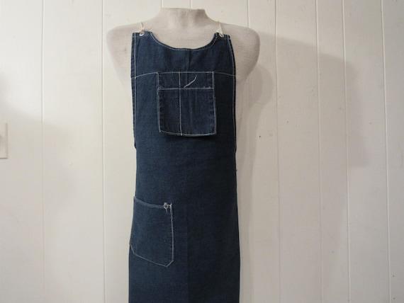 Vintage apron, denim apron, vintage workwear, work