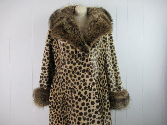 Vintage coat, leopard coat, 1960s coat, fur collar