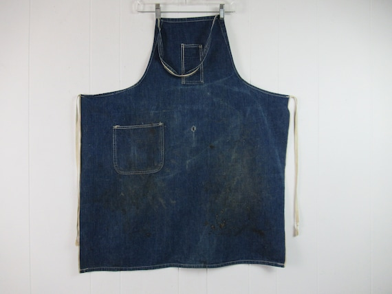 Vintage denim apron, 1940s apron, blue apron, vin… - image 1