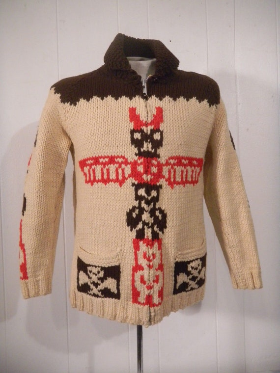 Vintage sweater, 1950s sweater, totem pole, Indian
