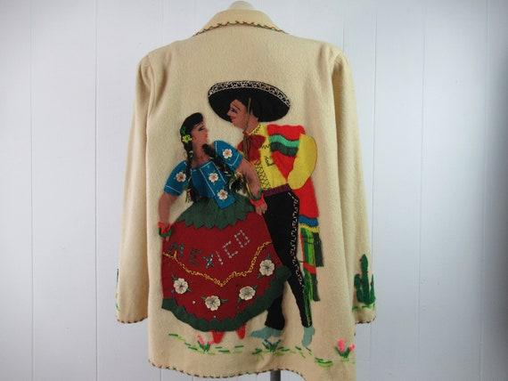 Vintage jacket, 1940s jacket, Mexican souvenir jac