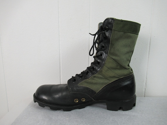 Vintage boots, combat boots, canvas and leather b… - image 3