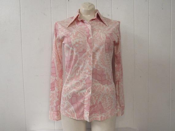 Vintage shirt, Disco shirt, 1970s shirt, pink shir