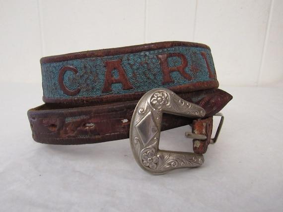 Vintage belt, 1940s belt, CARL belt, western belt,