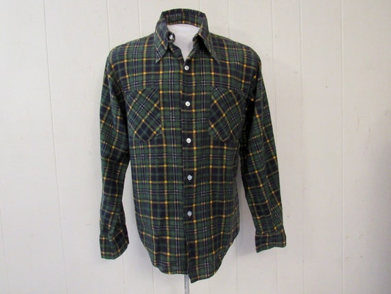 Vintage shirt, 1960s shirt, cotton flannel shirt,