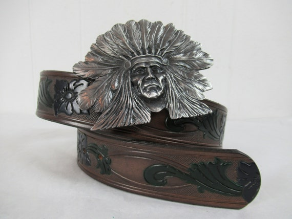 Vintage belt, Indian head belt, leather belt, 1980