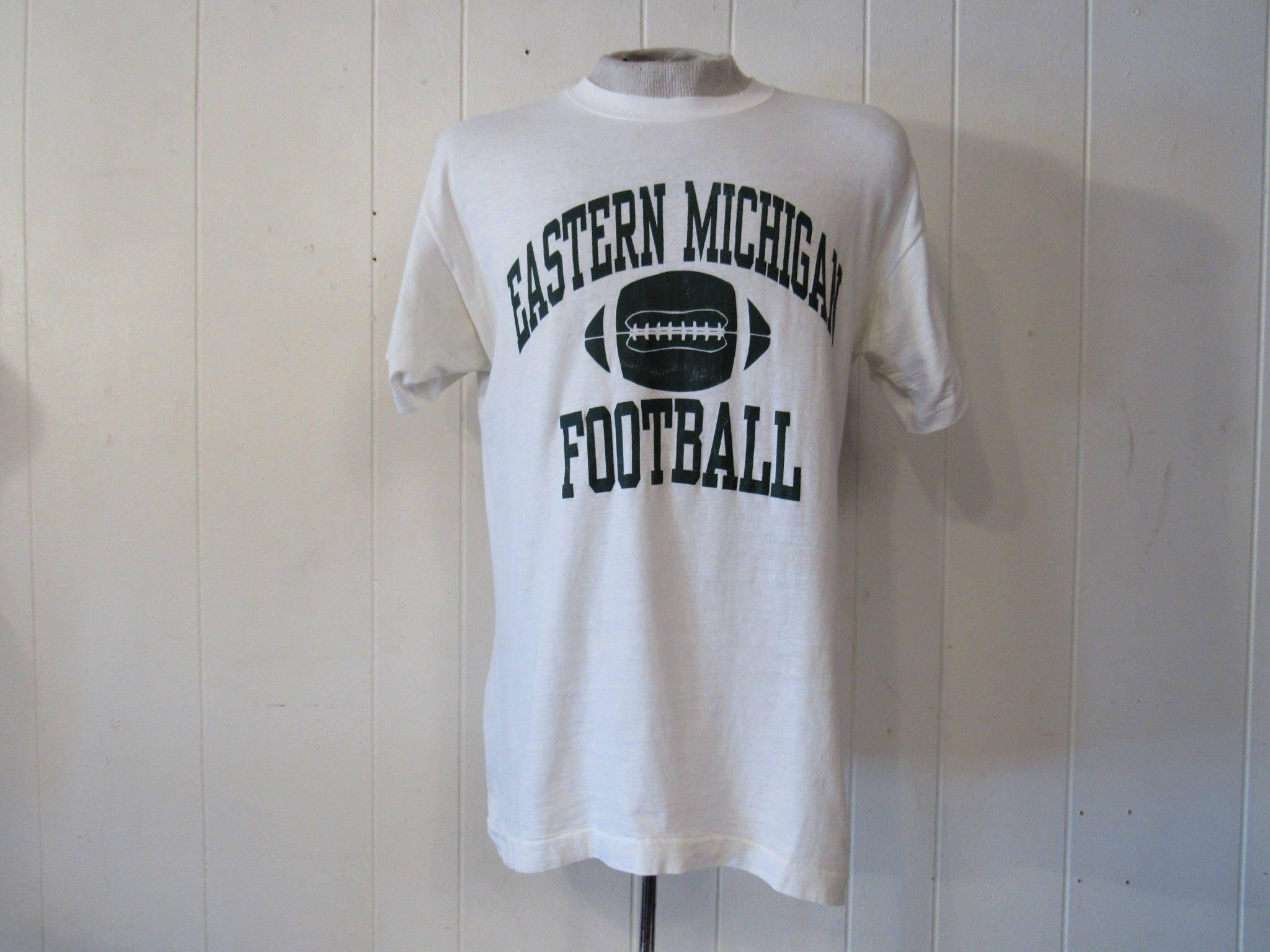 Vintage T Shirt Football T Shirt Eastern Michigan T Shirt Eastern Michigan Football Vintage Clothing Medium Unisex Tshirt