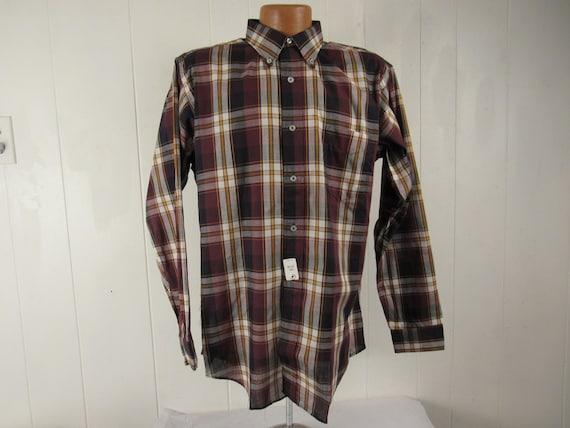 Vintage shirt, L, Madras plaid shirt, 1960s shirt,