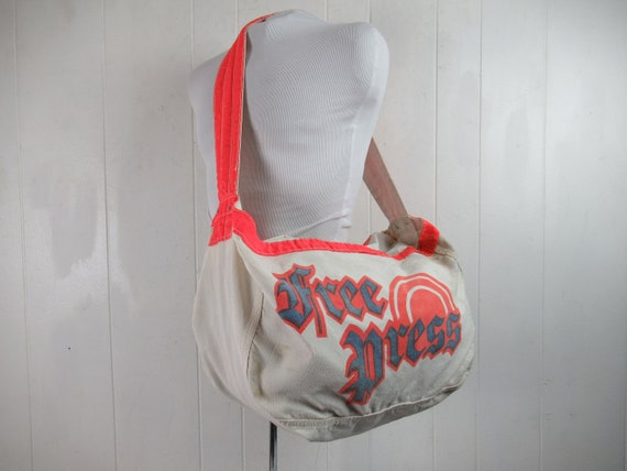 Vintage bag, newspaper bag, Detroit Free Press bag