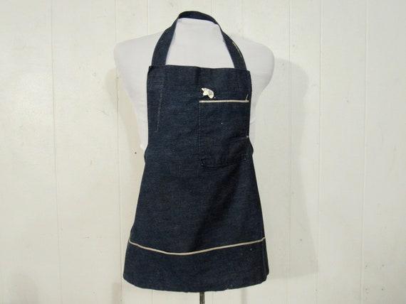 Vintage apron, denim apron, 1950s denim apron, wor