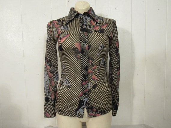 Vintage shirt, 1970s blouse, 1970s shirt, sheer sh