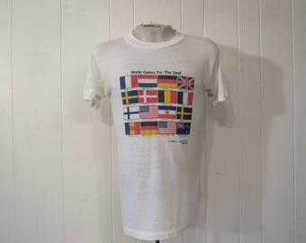 Vintage t shirt, world flags t shirt, games for the deaf, vintage clothing, medium