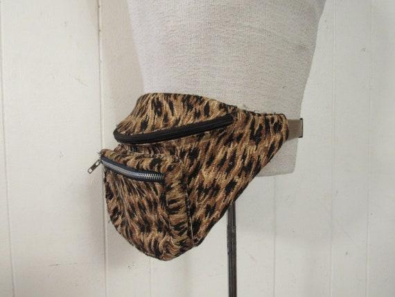 Vintage fanny pack, leopard print fanny pack, anim