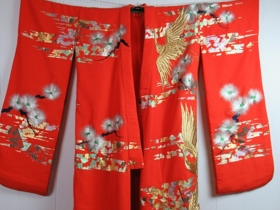 Vintage kimono, wedding kimono, silver and gold, s