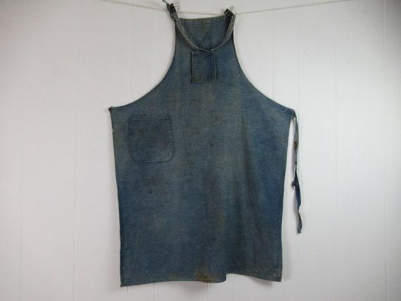 Vintage work apron, vintage workwear, work apron,
