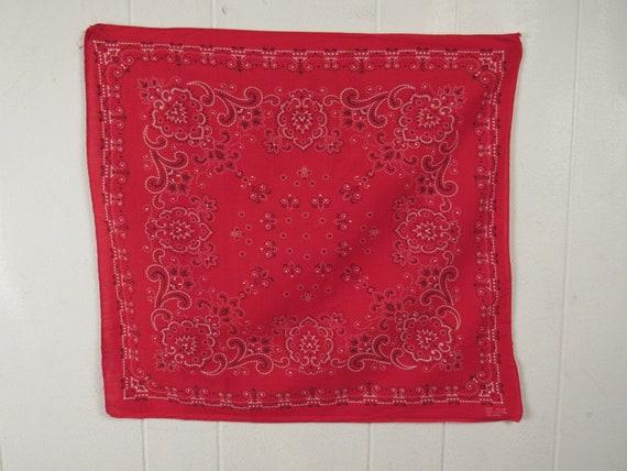 Vintage bandana, red bandana, 1960s bandana, weste