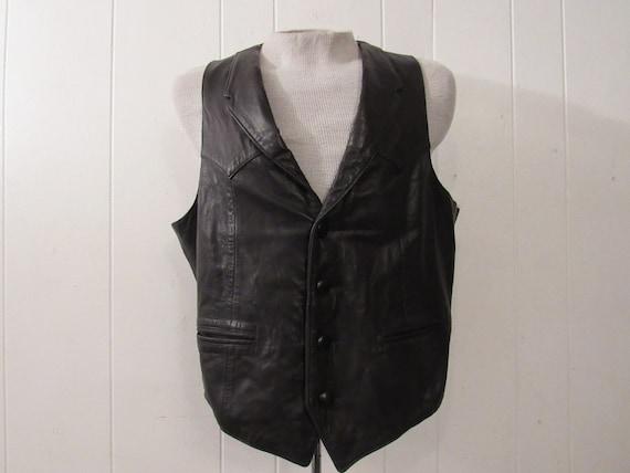 Vintage vest, leather vest, butter soft, cowboy ve