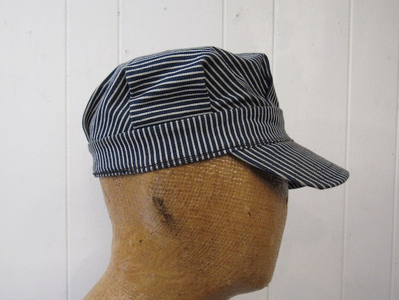 Vintage hat, denim hat, engineer hat, railroad hat