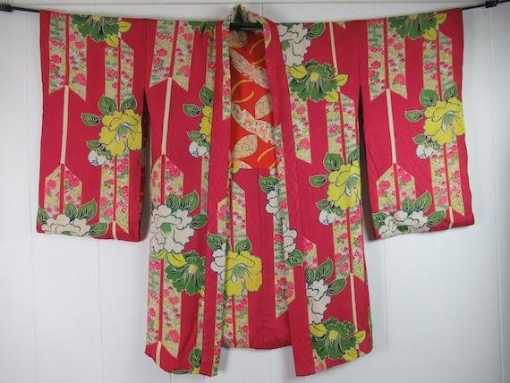 Vintage kimono, 1930s kimono, vintage robe, silk r