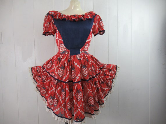 Vintage dress, strawberry dress, square dance dres