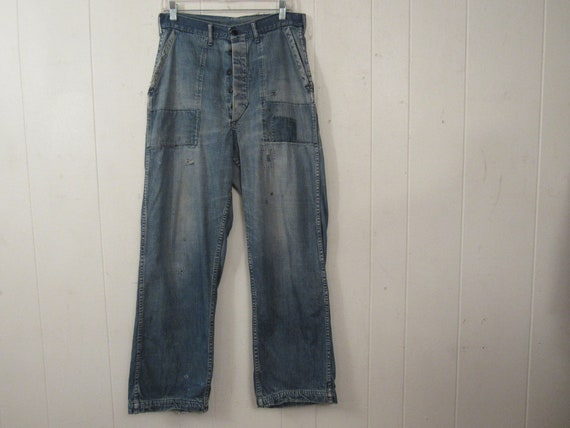 Vintage denim pants, 1940s pants, patched pants, 1