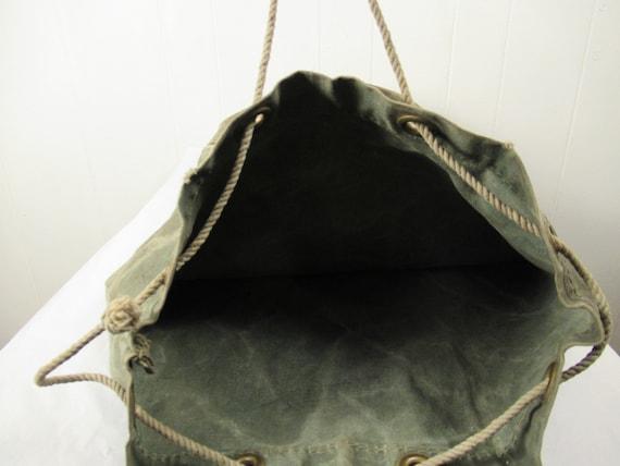 Vintage bag, 1940s bag, canvas bag, canvas duffel… - image 8