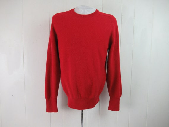 Vintage sweater, 1950s sweater, red sweater, Hudso