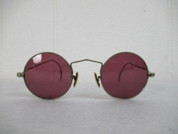 Vintage sunglasses, 1900s sunglasses, purple lense