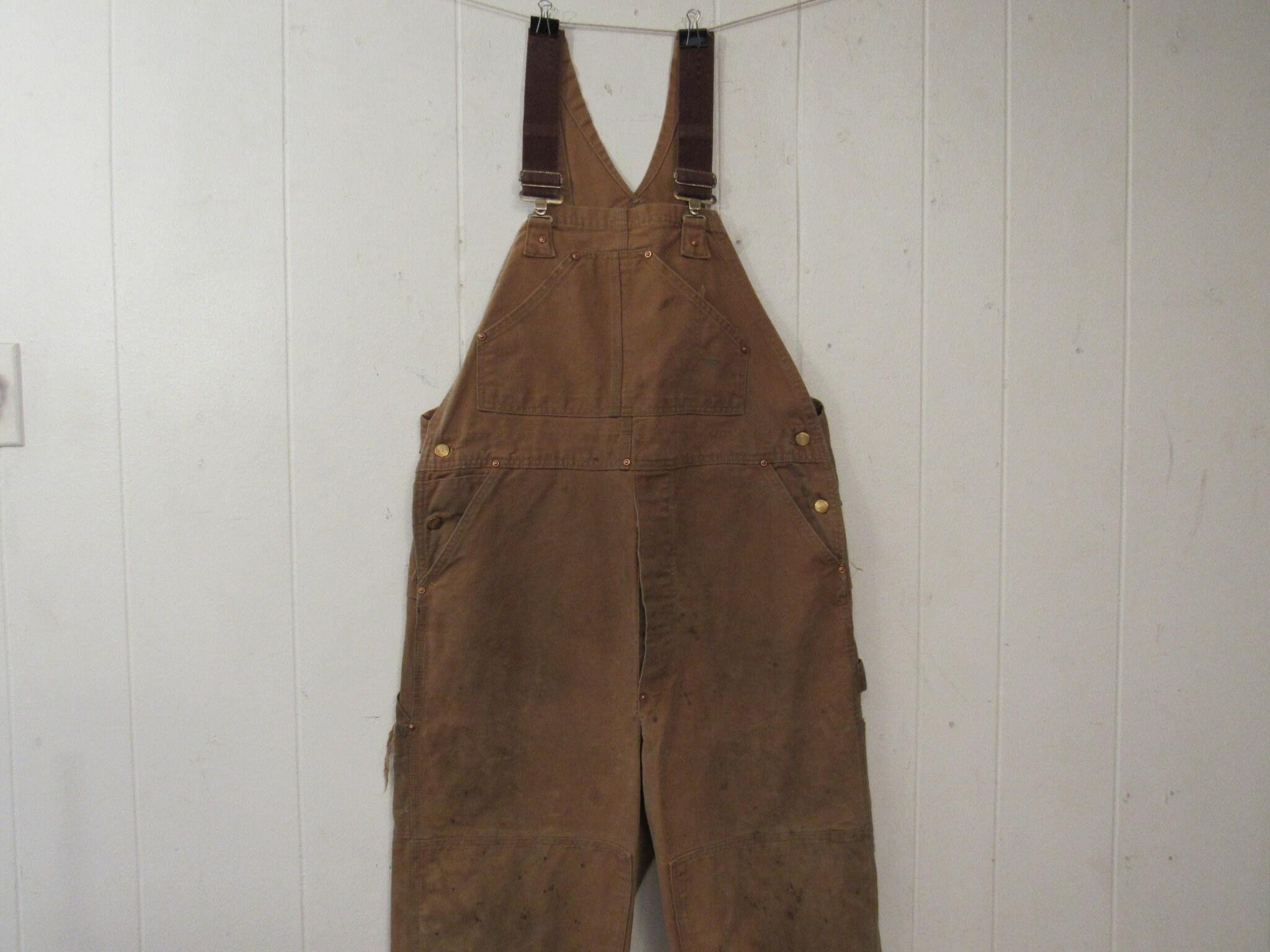 Vintage Overalls & Jumpsuits Vintage Overalls, Distressed Carhartt Brown Duck Denim Carhartt, Vintage Clothing, Workwear, Size 37.5 $0.00 AT vintagedancer.com