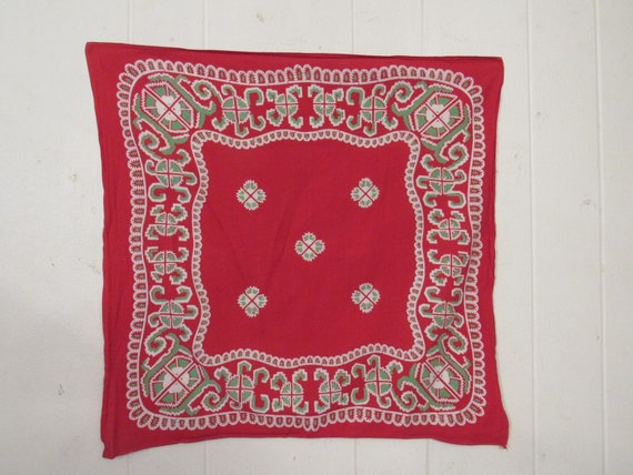Vintage bandana, red and green bandana, western ba