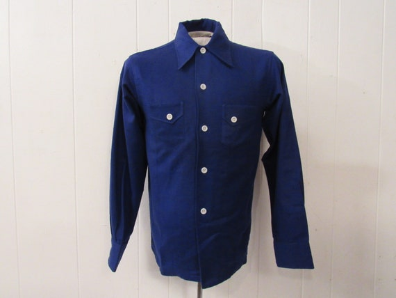 Vintage shirt, 1930s shirt, blue shirt, cotton fla