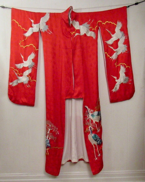 Vintage kimono, Uchikake kimono, cranes kimono, vi