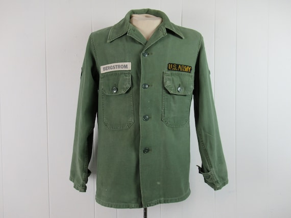 Vintage shirt, 1960s shirt, Army shirt, cotton shi
