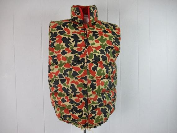 Vintage vest, puffer vest, camo vest, 1960s vest,