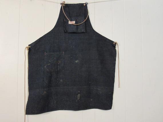 Vintage apron, denim apron, 1960s apron, vintage w