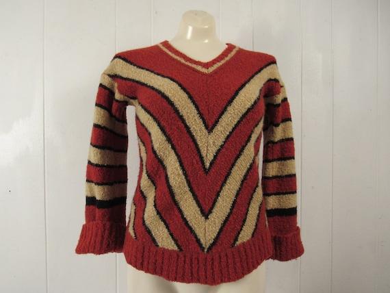 Vintage sweater, 1960s sweater, chevron sweater, m