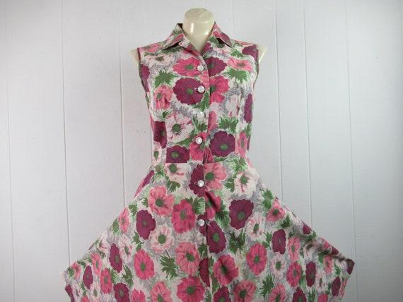 Vintage dress, 1940s dress, cotton dress, flower d