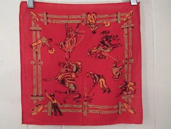 Vintage bandana, 1940s bandana, western bandana, r