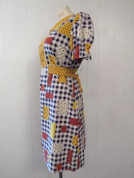 Vintage dress, 1960s dress, patchwork print dress… - image 4