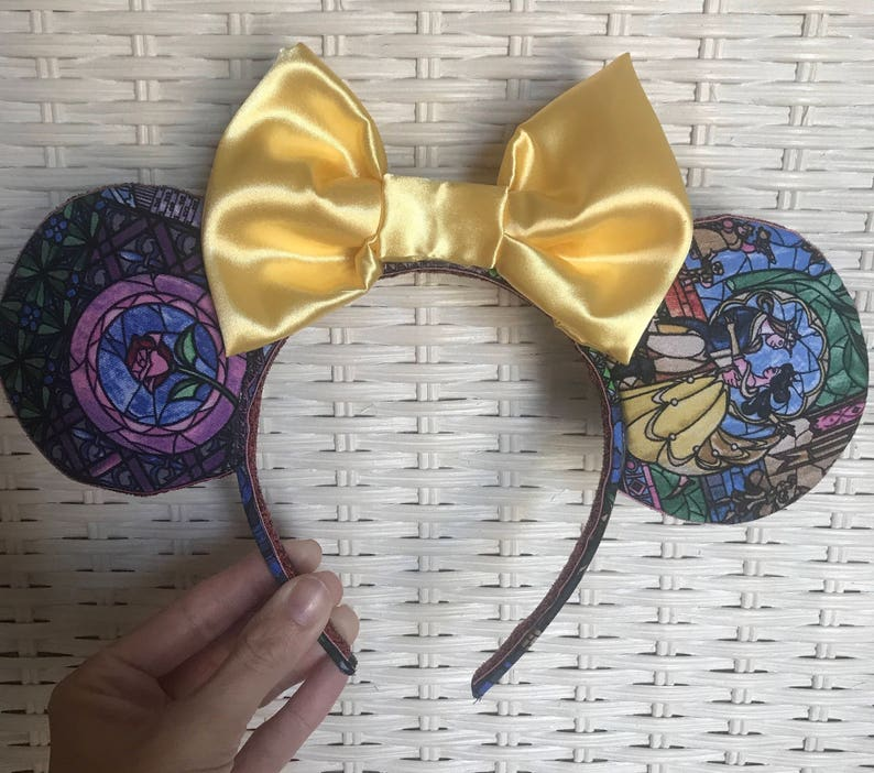 Beauty and the Beast stained glass fabric ears