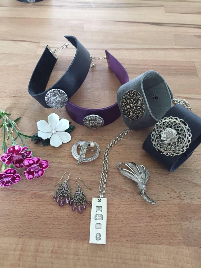 Grey cuff bracelet leather cuff bracelet boho cuff vintage silver indie bracelet handmade by AnyaSophiaCo