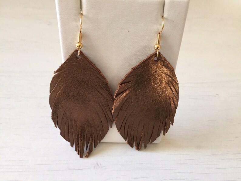 bronze leather earrings metallic jewellery Bronze earrings statement earrings feather earrings