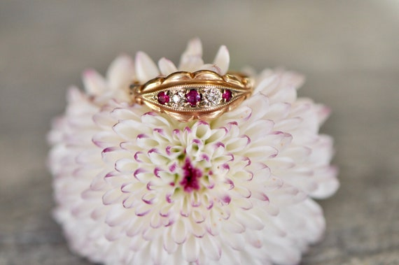 Victorian ring, ruby and diamond ring, antique gol