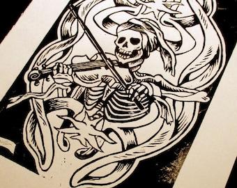Totentanz: Violin - Linocut - handmade original illustration - Skeleton