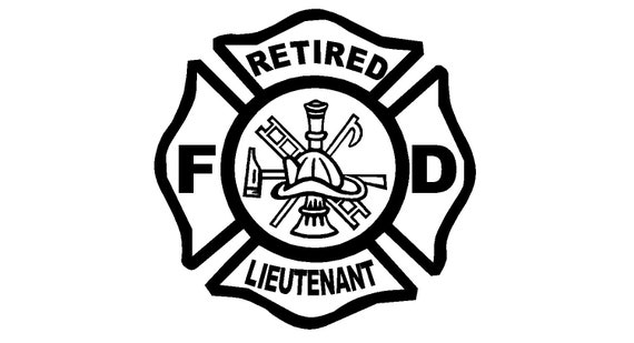 Fireman flaming maltese cross fire rescue vinyl decal sticker