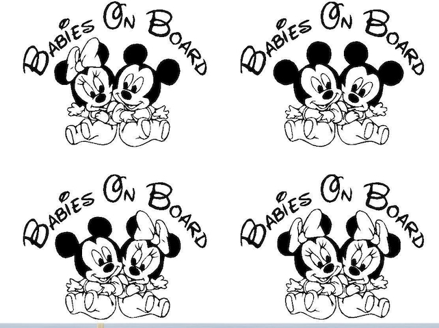 Mickey Minnie Mouse Babies Baby on Board Vinyl Decal Sticker | Etsy