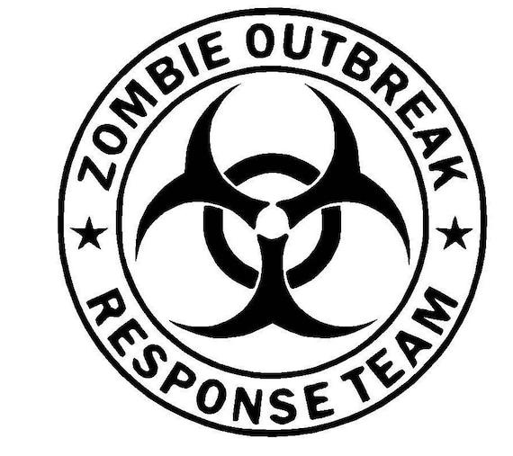 Zombie Outbreak Biohazard Symbol and Skulls Vinyl Decal Sticker window tumbler