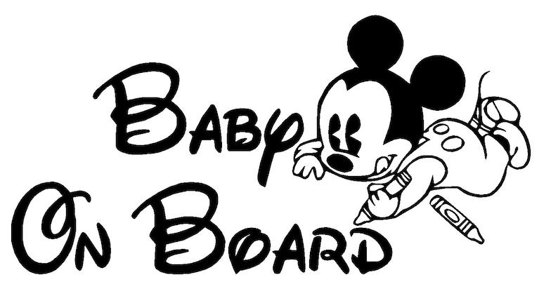 Kleurplaten Mickey Mouse Hoofd.Mickey Mouse Kleurplaat Baby Op Board Vinyl Decal Meerdere Kleuren Gratis Verzending Groot Voor Auto Vrachtwagen Venster Achterpaneel Aangepaste